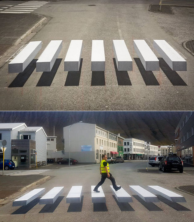 3D Crosswalk Illusion