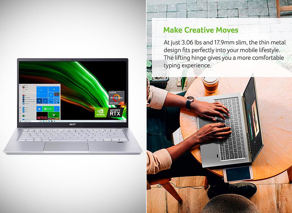 Acer Swift X SFX14 Creator Laptop Ryzen 7 3050Ti