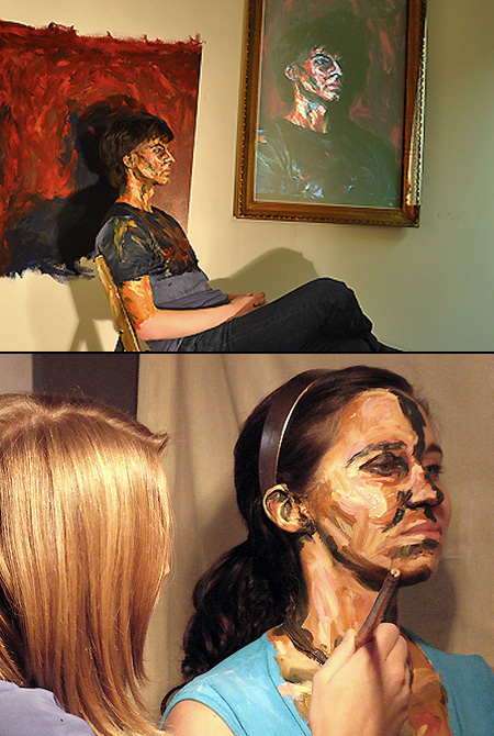real people painted with acrylics to look like paintings techeblog