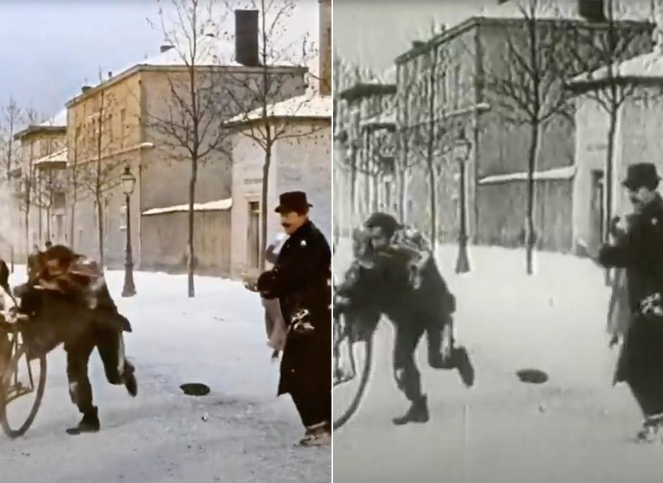 AI DeOldify Snowball Fight Lumiere