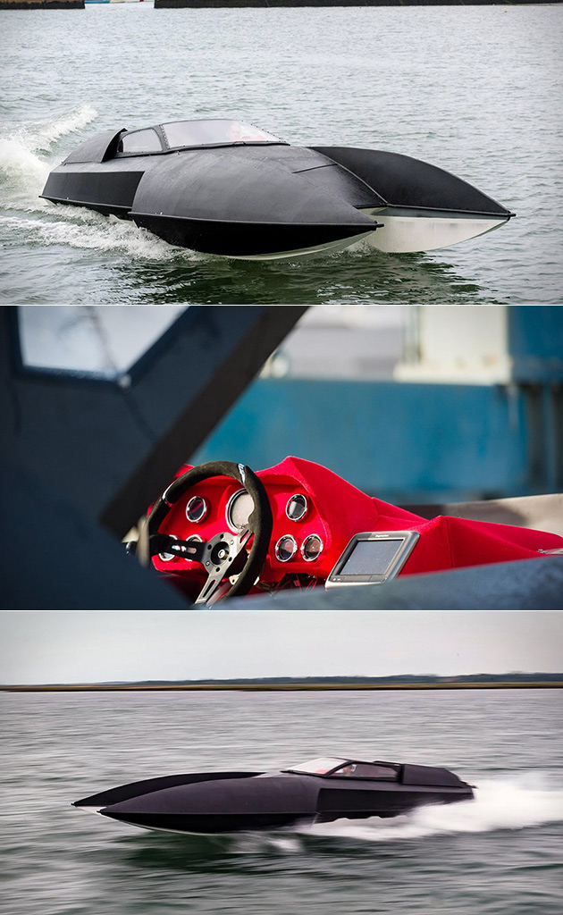 Stealthy Alpha Centauri Hydroplane Looks Like the SR-71, Powered by a 750HP V8 Engine