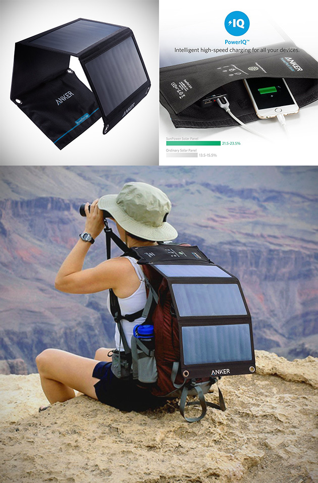 Anker 21w Dual Usb Solar Charger Clips Onto Backpacks Get