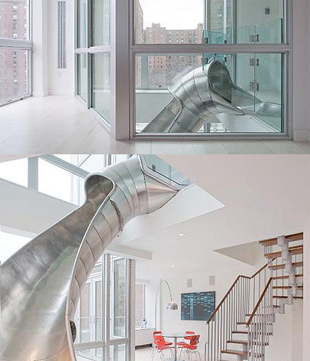 Creative apartment has a giant slide techeblog - The giant slide apartament ...