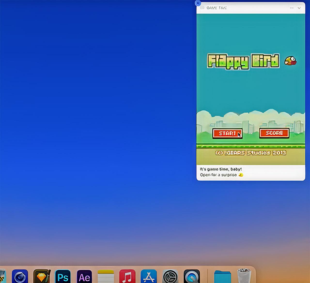 Apple macOS Notification Flappy Bird Game