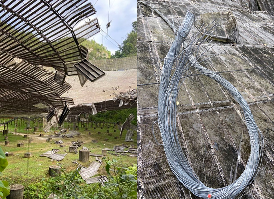 Arecibo Observatory Radio Telescope Damaged