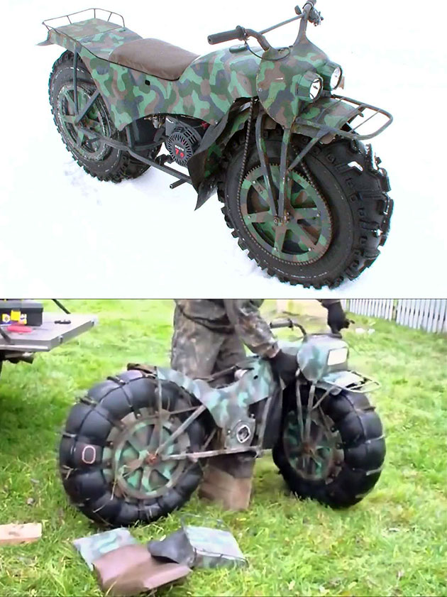 taurus 2m looks like a normal all terrain motorcycle but take it