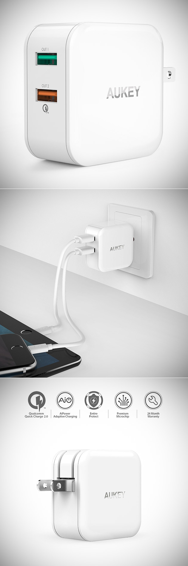 Aukey 2-Port USB Wall Charger
