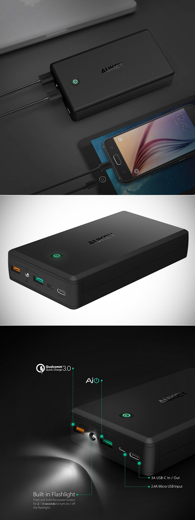 AUKEY 30,000mAh Portable Charger Has USB-C and microUSB for Nintendo