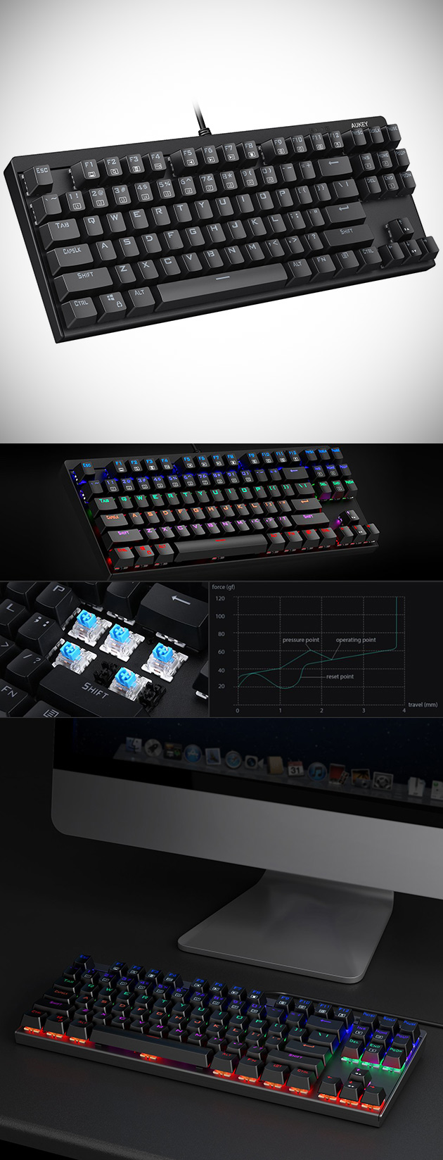 Aukey's 87 Key LED-Backlit Gaming Keyboard Has Blue Switches, Get One for $30.99 - Today Only
