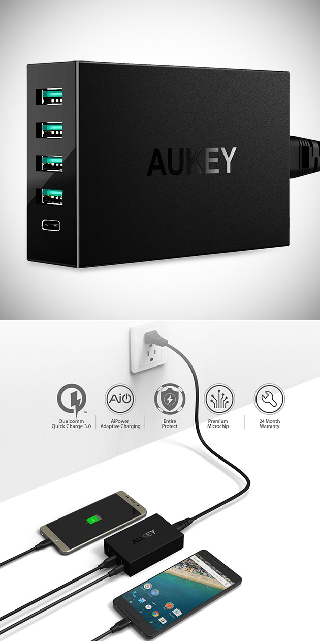 Ditch the Clutter, Get AUKEY's Amp USB Charger with 4 USB Ports + 1 USB-C for $12.99 - Today Only