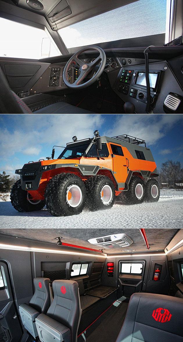 avtoros shaman 8 8 is a monstrous eight wheeled vehicle hits top