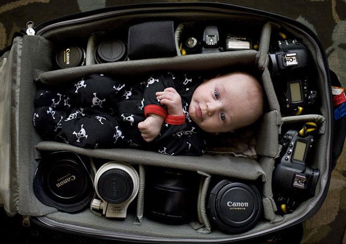 Baby Sleeping in Camera Bag