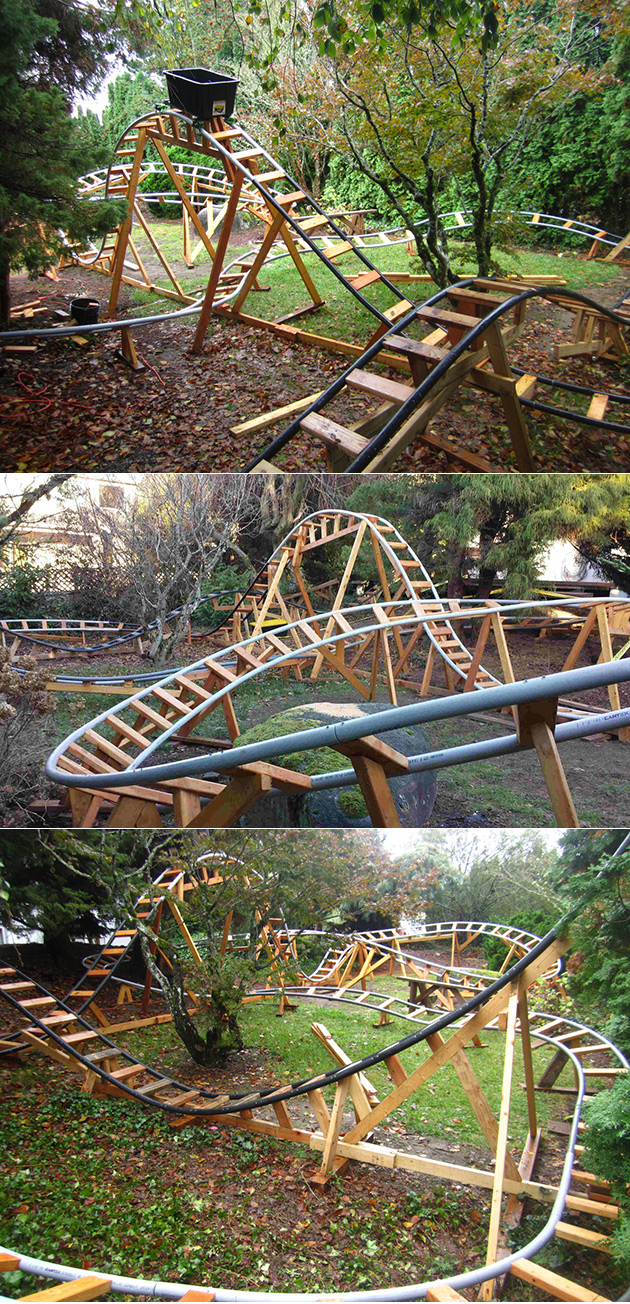 engineer builds awesome roller coaster in backyard epic rides ensue
