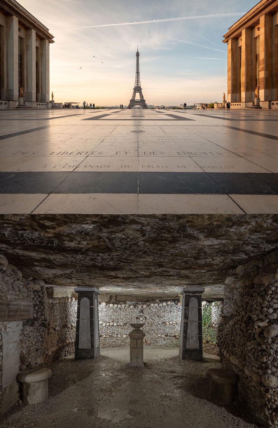 Below Eiffel Tower