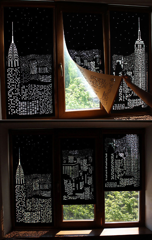 Holeroll curtains give any room a panoramic city Blackout curtains city skyline