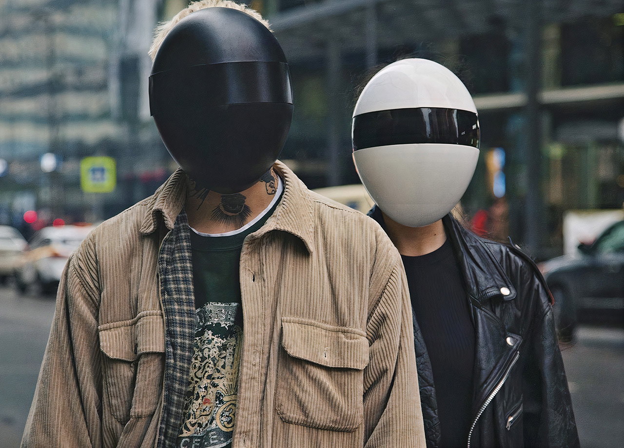 Blanc Daft Punk Face Mask