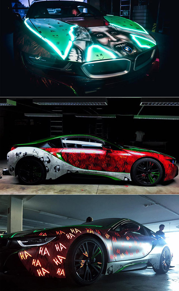 Artist Gives Bmw I8 An Incredible Joker Makeover Includes Glowing