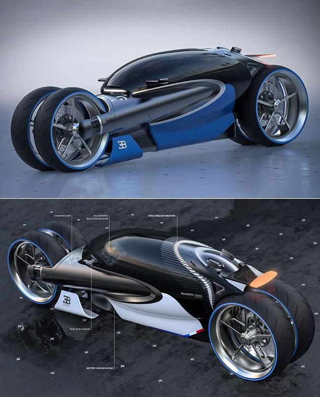 Bugatti Type de 100M de la Moto est Électrique, Dispose d'un Holographique de Moniteur de Vue Arrière