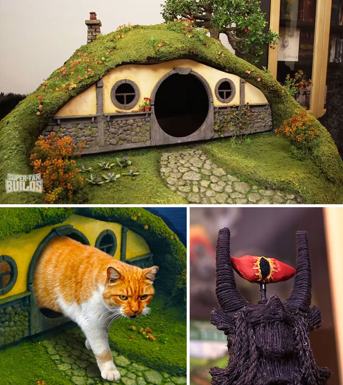 Geeky Cat Owner Loves Lord of the Rings, Sauron Scratching Post and Hobbit House Ensue