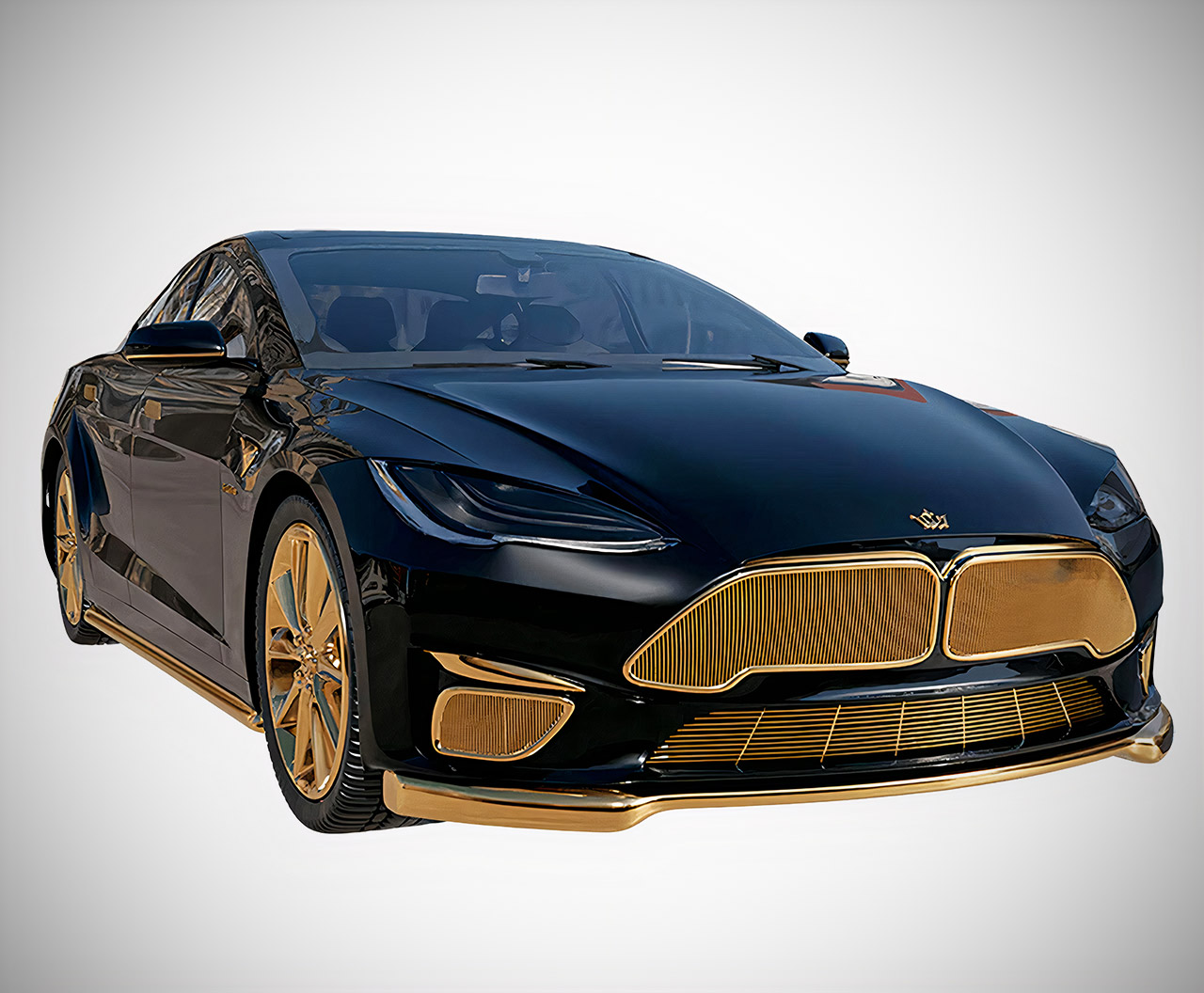Caviar Tesla Model Excellence 24K Gold Plaid
