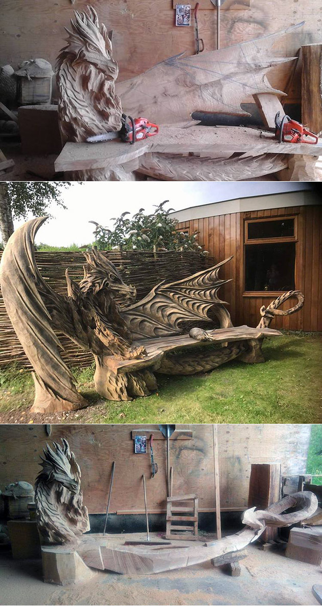 Guy uses chainsaw to transform giant log into an