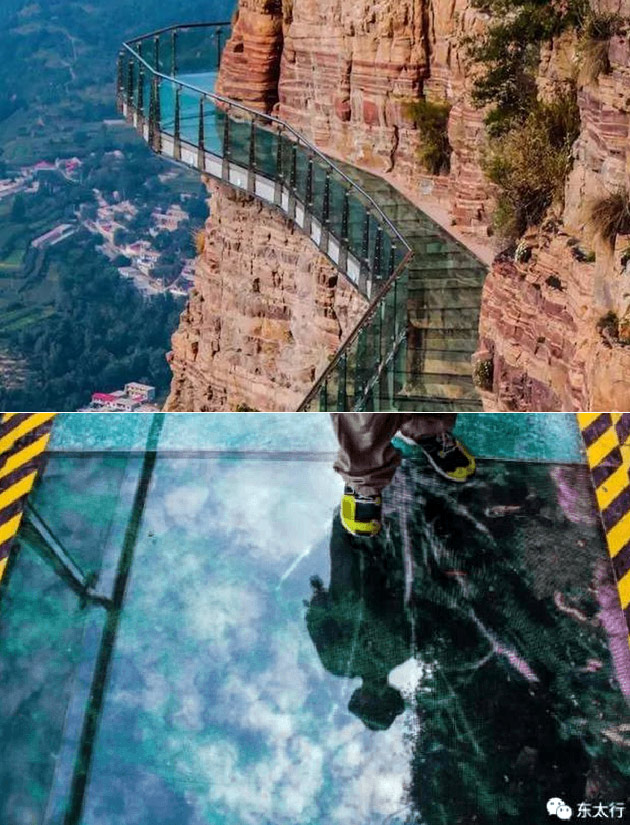 Humorous Structural Glass : Cliffside glass walkway in china looks like it cracks