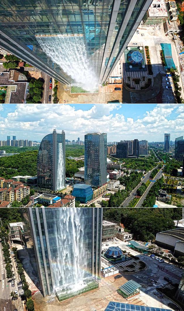 China skyscraper Waterfall