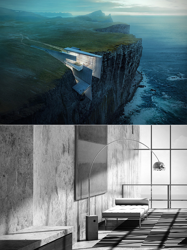 For Those Not Afraid Of Heights This Cliffside Hotel In Iceland - This architects stunning concept home hangs from a cliffside in iceland