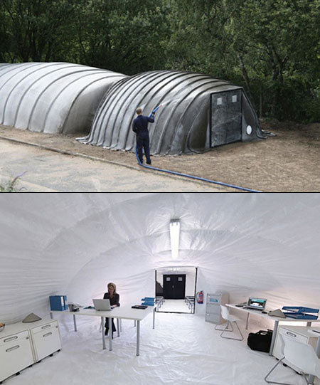 Inflatable Concrete Tent : Concrete tent hardens when you add water is perfect from