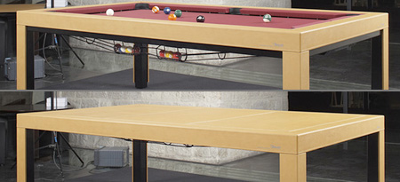 Beau Chevillotte (very)table: The Pool Table That Transforms Into An Office Desk  With A Few Cranks