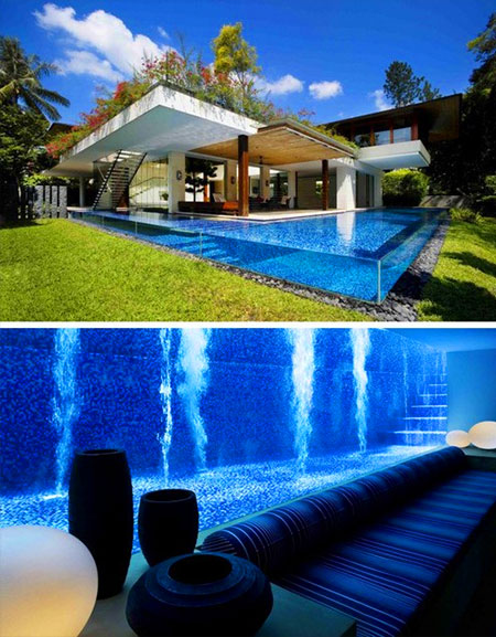 awesome swimming pool includes basement viewing area