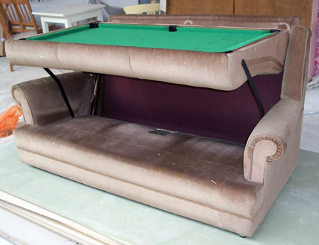 EBay Watch Prototype Couch Transforms Into Foot Pool Table - Six foot pool table