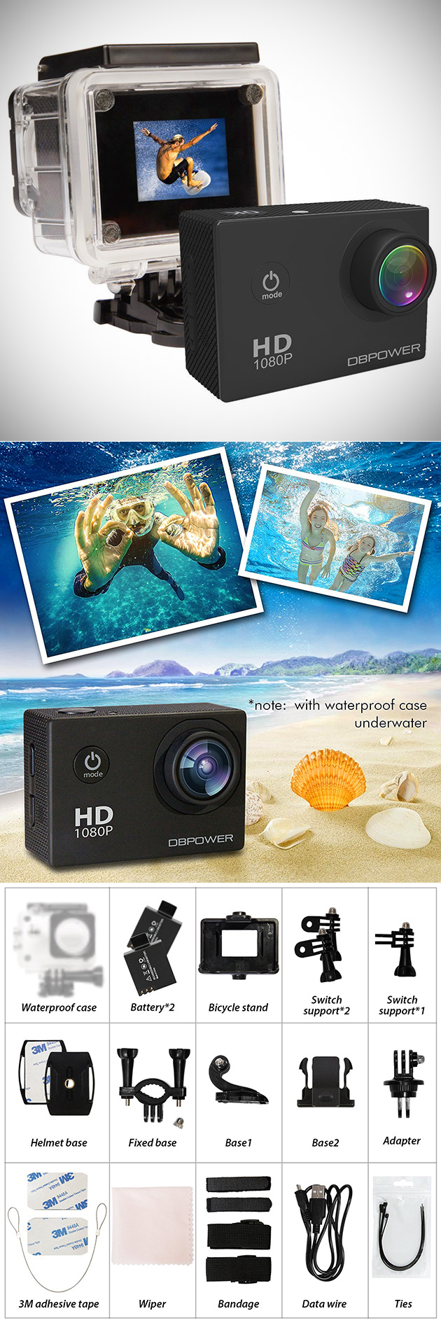 DBPOWER 1080p Action Cam