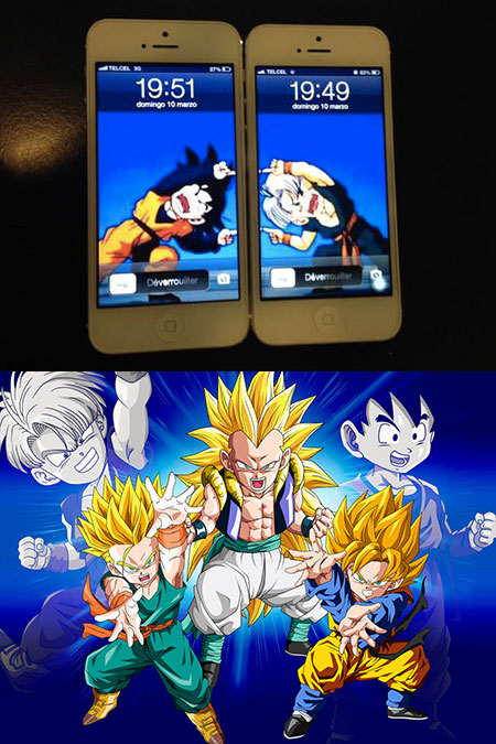 One thing only dragon ball z fans would do with their phones theres one thing only dragon ball z fans would do with their phones and thats setting the wallpaper of two handsets as the fusion of goten and trunks voltagebd Choice Image