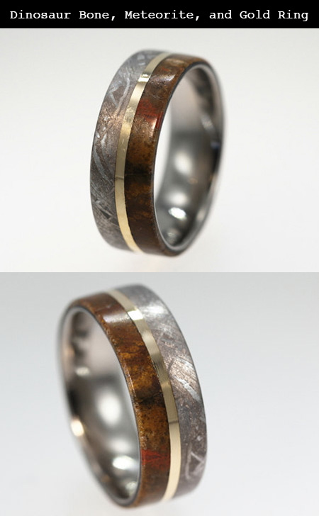 this ring was made from dinosaur bone meteorite and gold