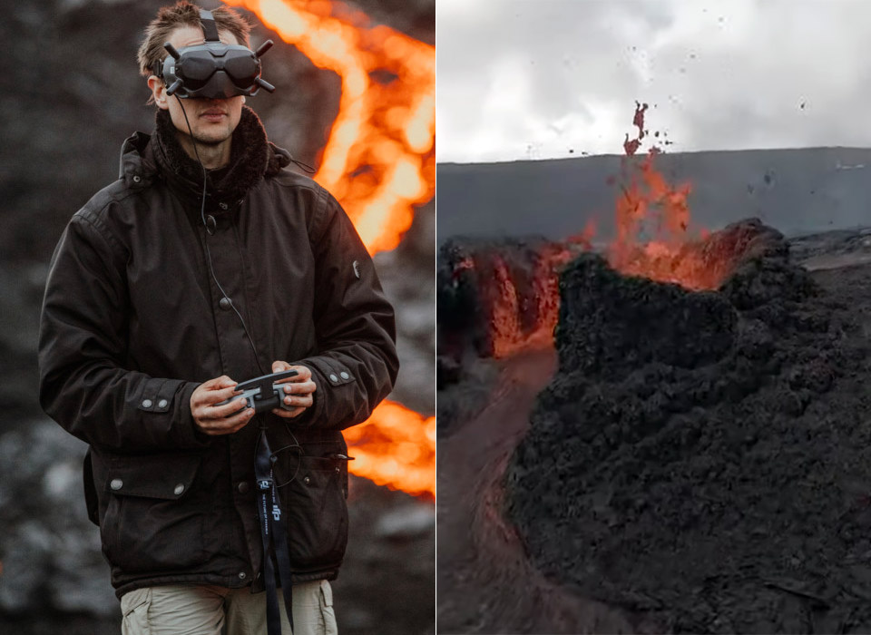 DJI FPV Drone Iceland Volcano Lava