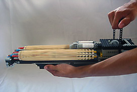 Feature Double Barreled Lego K Nex Minigun Fires 58