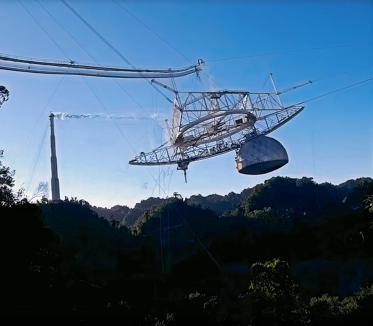 Drone Arecibo Observatory Radio Telescope Collapse