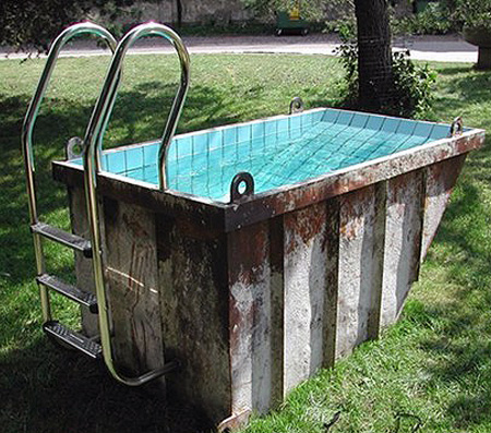 Geek transforms old dumpster into swimming pool techeblog for What to do with old swimming pool