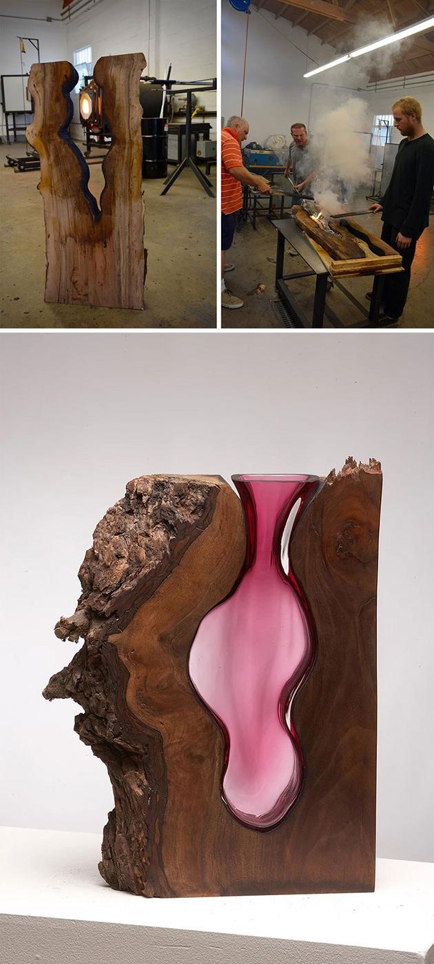 Der Künstler Nimmt in Platten, mit Rand Holz und Bläst Glas Direkt In Sie hinein um Diese zu Erstellen