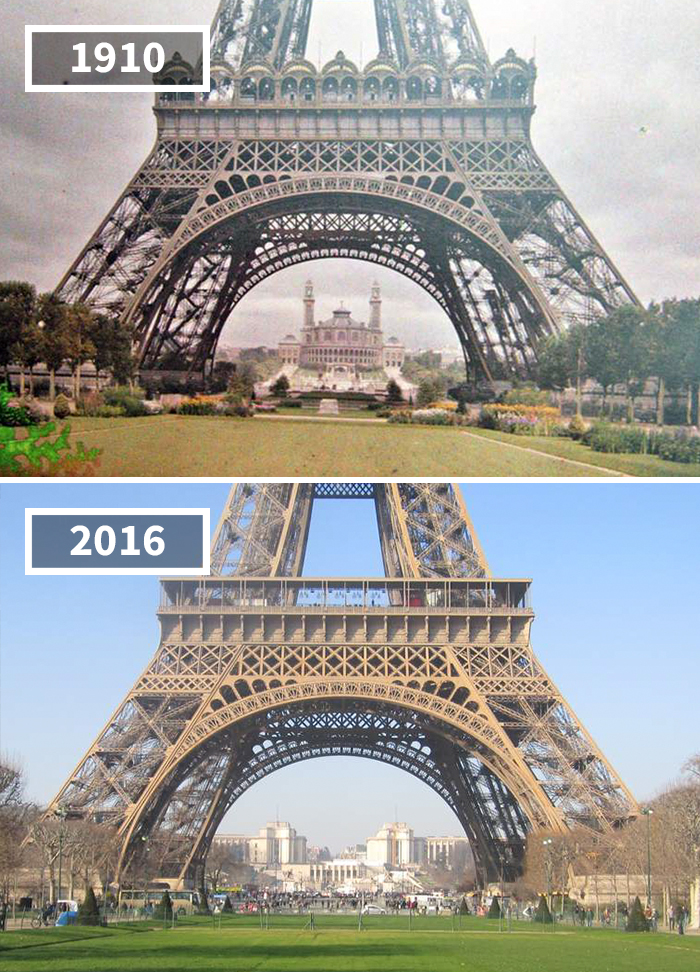 Eiffel Tower Then Now