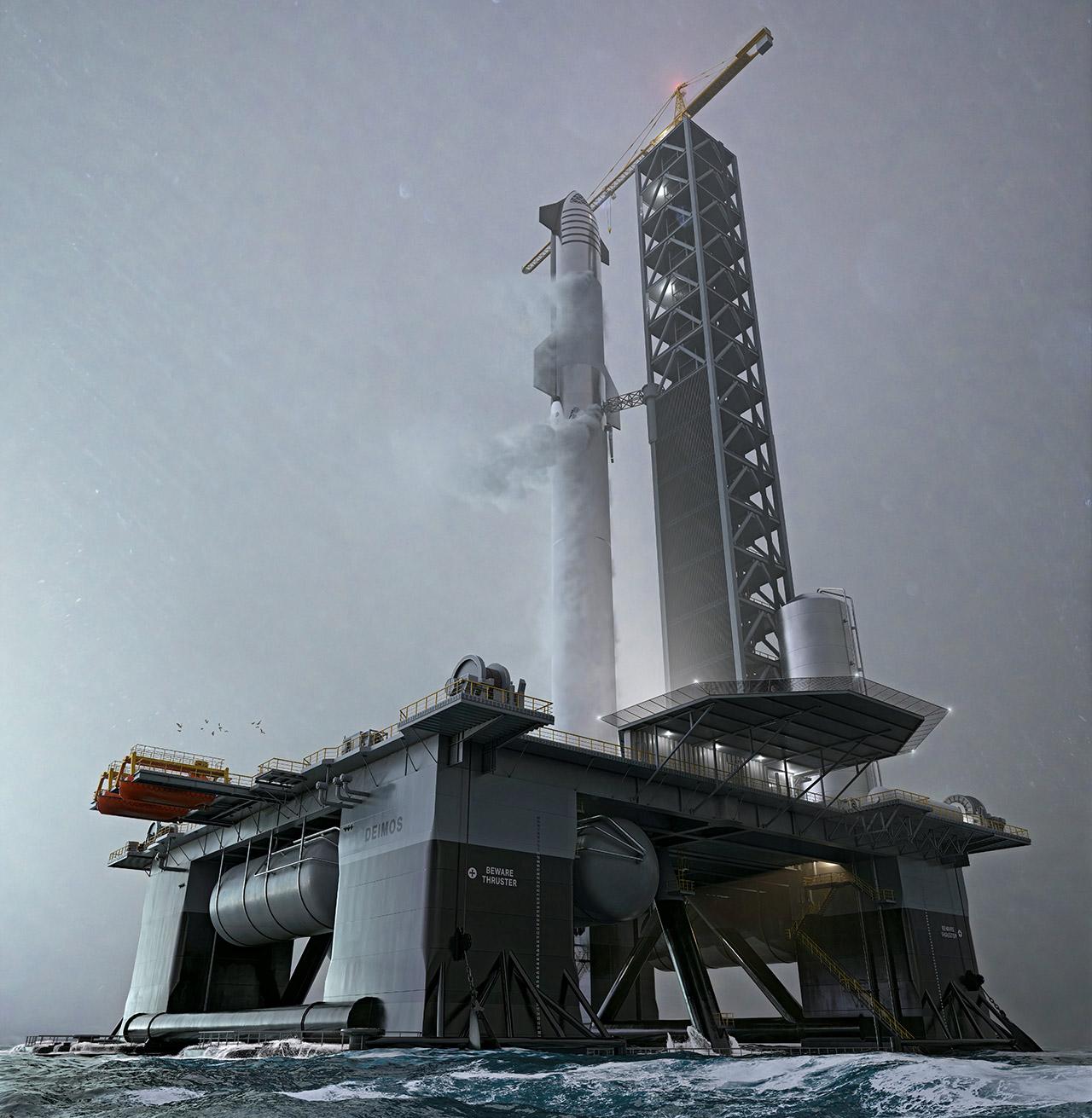 Elon Musk SpaceX Ocean Spacesport Deimos Starship Space Launch