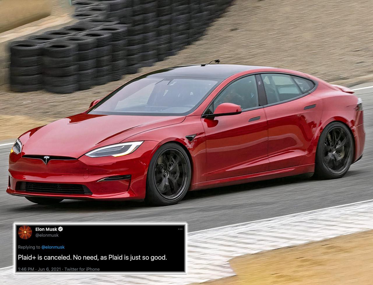 Elon Musk Tesla Model S Plaid Plus Canceled
