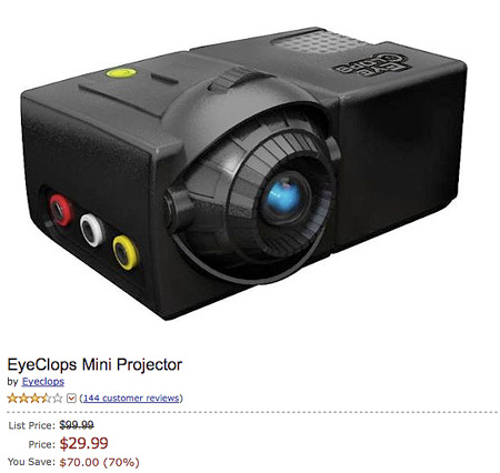 Deal of the day eyeclops mini projector for for Pocket projector deals