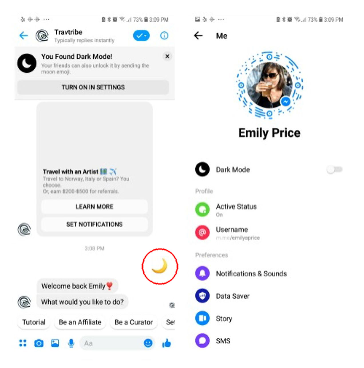 Facebook Messenger Dark Mode Android iOS