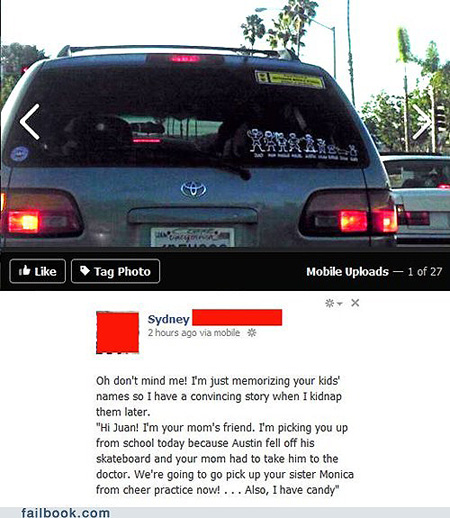 One reason why you shouldnt put family stickers on your car is explained in the facebook status update above lets just say it makes things a little too