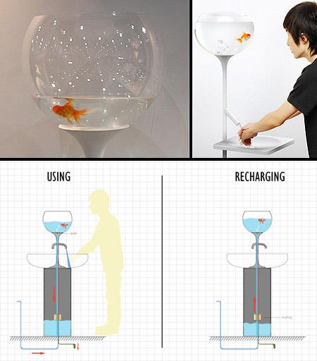 Strange Fishbowl Sink Automatically Refills Itself
