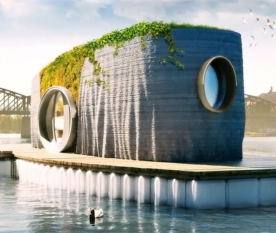 Floating Prvok  3D-Printed Home