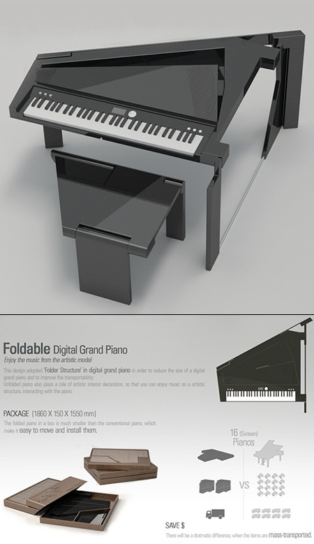 Piano à queue pliable peut facilement être transporté n'importe où, se plie à plat