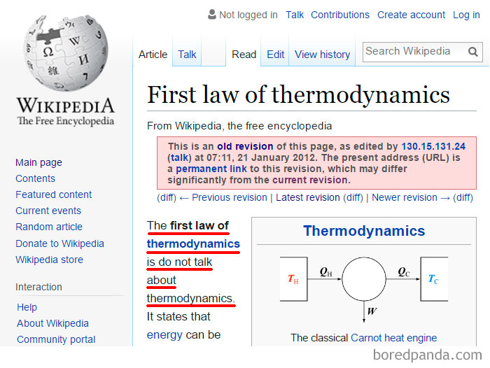 First Law of Thermodynamics and 10 More Strange (Yet Real) Wikipedia Edits